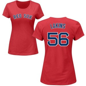 Travis Lakins Boston Red Sox Women's Red Roster Name & Number T-Shirt -