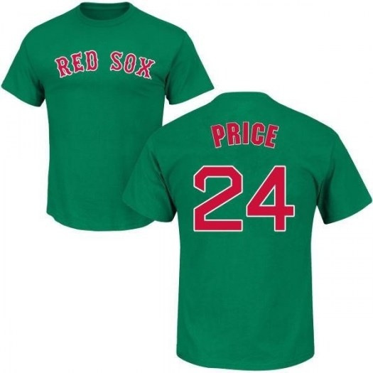 David Price Boston Red Sox Youth Green St. Patrick's Day Roster Name & Number T-Shirt -